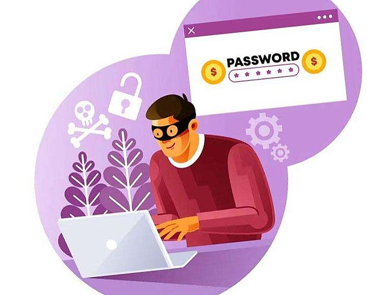 black hat hacker sitting at the laptop illustration